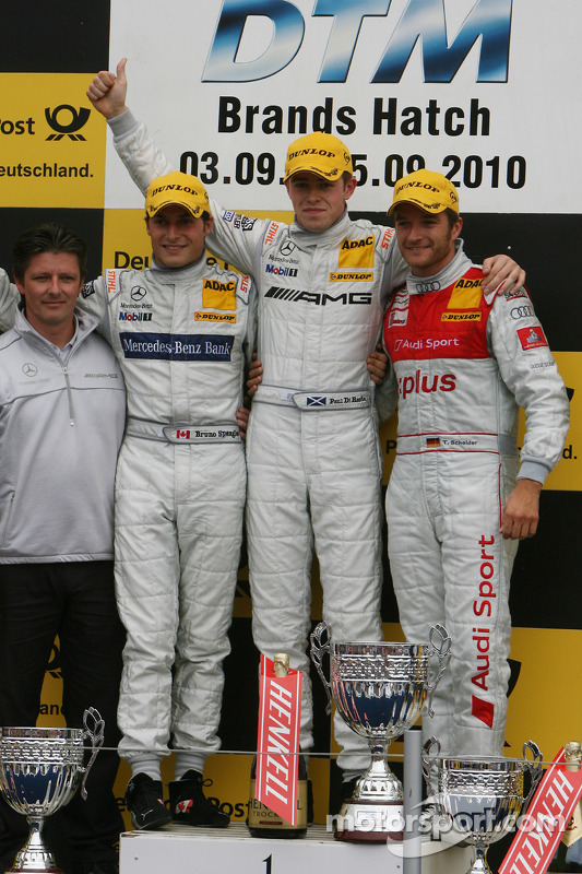 Podium: race winner Paul di Resta, Team HWA AMG Mercedes, second place Bruno Spengler, Team HWA AMG Mercedes, third place Timo Scheider, Audi Sport Team Abt