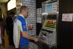 Mikko Hirvonen buys subway tickets in Sapporo