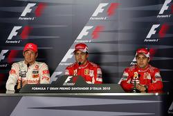 Jenson Button, McLaren Mercedes, Fernando Alonso, Scuderia Ferrari, Felipe Massa, Scuderia Ferrari