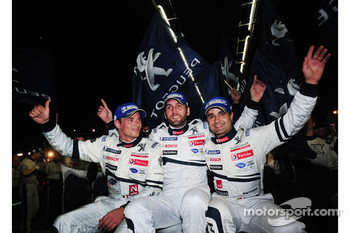 Overall and LMP1 class winners Stéphane Sarrazin, Franck Montagny, and Pedro Lamy