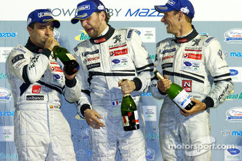LMP1 podium: class and overall winners Pedro Lamy, Franck Montagny and Stéphane Sarrazin
