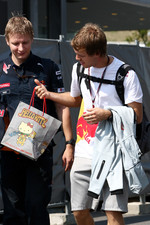 Sebastian Vettel, Red Bull Racing with a hello kitty bag