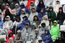 Fans get wet in the grandstands