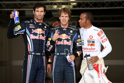 Pole winner Sebastian Vettel, Red Bull Racing, second place Mark Webber, Red Bull Racing, third place Lewis Hamilton, McLaren Mercedes