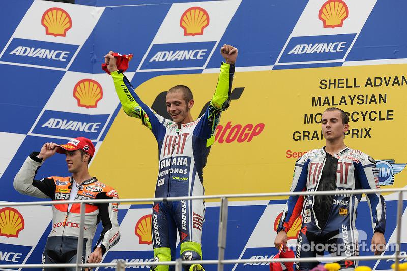 2010: Valentino Rossi, 2. Andrea Dovizioso, 3. Jorge Lorenzo
