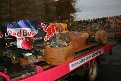 Mark Webber, Red Bull Racing car after he crashed