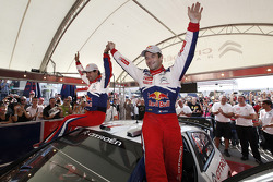 Winners Sébastien Loeb and Daniel Elena, Citroën C4, Citroën Total World Rally Team, celebrate with their team