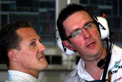 Michael Schumacher, Mercedes GP, Andrew Shovlin, Mercedes GP, Senior Race Engineer to Michael Schumacher