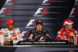 Press conference: pole winner Sebastian Vettel, Red Bull Racing, second place Lewis Hamilton, McLaren Mercedes, third place Fernando Alonso, Scuderia Ferrari