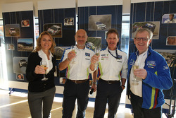 Oksana Polovaya; Gerard Quinn; Malcolm Wilson and Ian Slater toast 'Farewell to the record breaking Ford Focus RS WRC' at Cardiff's Millenium Centre