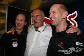 Christian Horner, Red Bull Racing, Sporting Director with Dietrich Mateschitz, Owner of Red Bull and and Adrian Newey, Red Bull Racing, Technical Operations Director