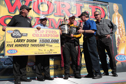 Larry Dixon celebrates his Top Fuel World Championship