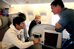 Sebastian Vettel, Mark Webber and consultant David Coulthard on their flight to Red Bull headquarters