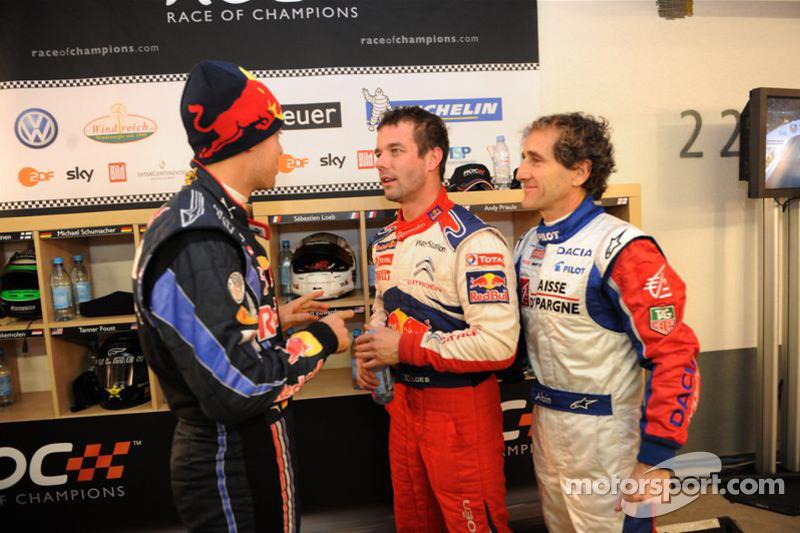 Sebastian Vettel, Sébastien Loeb and Alain Prost