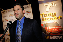 Tony Stewart speaks to the media