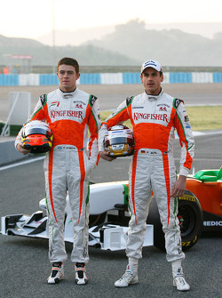 Paul di Resta, Test Driver, Force India F1 and Adrian Sutil, Force India F1