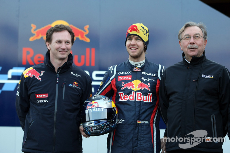 Christian Horner, Red Bull Racing, Sporting Director and Sebastian Vettel, Red Bull Racing and Jean-Francois Caubet Renault Head of Communications