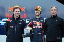 Christian Horner, Red Bull Racing, Sporting Director and Sebastian Vettel, Red Bull Racing and Jean-Francois Caubet Renault Head of Communications