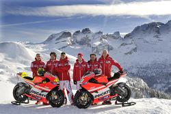 Claudio Domenicali, Ducati director, Gabriele Del Torchio, Ducati president, Valentino Rossi, Ducati, Nicky Hayden, Ducati, Vittoriano Guareschi, test rider Ducati at the Ducati Desmosedici GP11 presentation