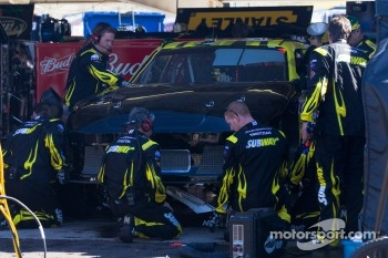 Car of Carl Edwards, Roush Fenway Racing Ford in the garage after a crash