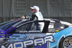 Allen Johnson waiting to have his Team Mopar Dodge Avenger weighed at the scales