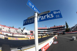 Wally Parks Blvd sign at the Auto Club Dragway