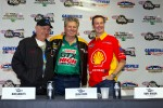 Don Garlit, Funny Car Champion John Force, and NASCAR Sprint Cup Champion, Kurt Busch, take questions from the media