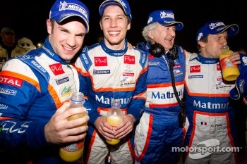 Race winners Nicolas Lapierre, Loic Duval and Olivier Panis celebrate with Hugues de Chaunac