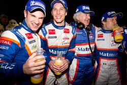 Race winners Nicolas Lapierre, Loic Duval and Olivier Panis celebrate with Hugues de Chaunac