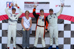 GT3P podium: class and overall winner Henrique Cisneros, second place Cooper MacNeil, third place Fernando Pena