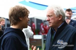 Sebastian Vettel, Red Bull Racing with Charlie Whiting, FIA Safety delegate, Race director & offical starter