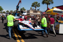 Damaged car of Sébastien Bourdais, Dale Coyne Racing back in the paddock