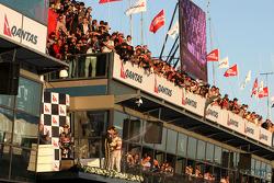 Podium: Lewis Hamilton, McLaren Mercedes, Sebastian Vettel, Red Bull Racing and Vitaly Petrov, Lotus Renalut F1 Team