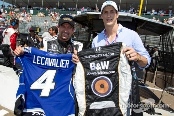 Alex Tagliani, Sam Schmidt Motorsports and Grand Marshal Vincent Lecavalier, captain of the Tampa Bay Lightning trade jersey and driver suit