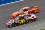 Greg Biffle, Roush Fenway Racing Ford and Joey Logano, Joe Gibbs Racing Toyota