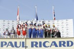 LM P1 podium: class and overall winners Emmanuel Collard, Christophe Tinseau and Julien Jousse, second place Andrea Belicchi and Jean-Christophe Boullion, third place Nicolas Prost and Neel Jani