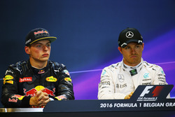 (L to R): Max Verstappen, Red Bull Racing and Nico Rosberg, Mercedes AMG F1 in the post qualifying FIA Press Conference