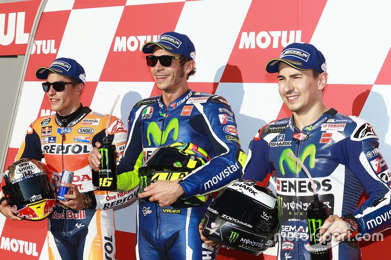 Polesitter Valentino Rossi, 2. Marc Marquez, 3. Jorge Lorenzo