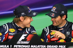 Press conference: pole winner Sebastian Vettel, Red Bull Racing, third place Mark Webber, Red Bull Racing