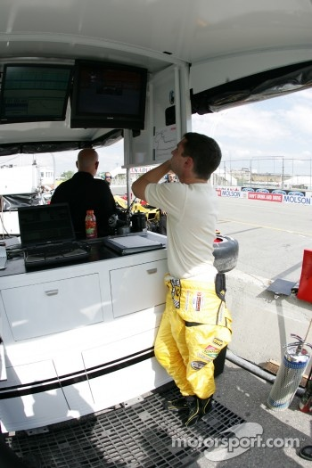 Timo Glock at Rocketsports Racing pit area