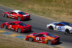Start: #59 Algar Ferrari Ferrari 458 Challenge: John Farano, #26 Ferrari of Ft. Lauderdale Ferrari F430 Challenge: Juan Hinestrosa and #4 Ferrari of Silicon Valley Ferrari F430 Challenge: Chris Ruud involved in the commotion