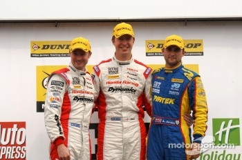 Round 8 podium 1st Matt Neal, 2nd Gordon Shedden, 3rd Andrew Jordan