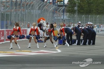 The Denver Bronco's cheerleaders and drum corps