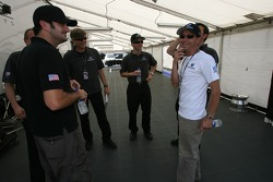 Roberto Moreno shares a laugh with Pacific Coast Motorsports team members