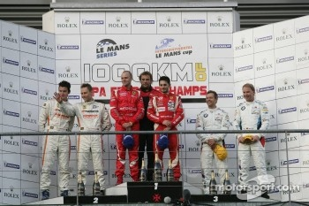 LMGTE pro podium: class winners Giancarlo Fisichella and Gianmaria Bruni, second place Dominik Farnbacher and Allan Simonsen, third place Andy Priaulx and Uwe Alzen