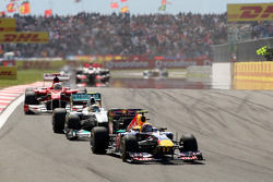 Mark Webber, Red Bull Racing, RB7 leads Nico Rosberg, Mercedes GP F1 Team, MGP W02 and Fernando Alonso, Scuderia Ferrari, F150