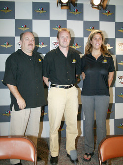 Playa Del Racing owners Gary Sallee, left, and Susan Schafer, right, and driver Jaques Lazier