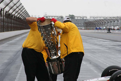 The Borg Warner Trophy is prepared for the photo shoot