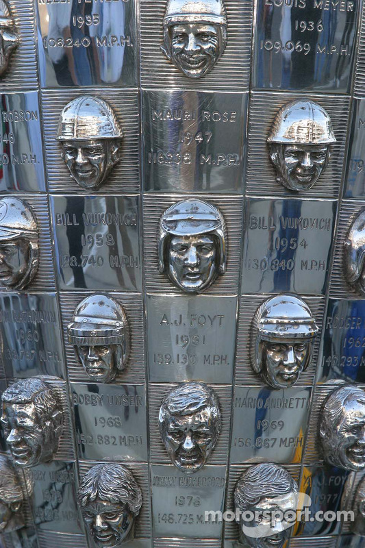 Reliefs of the winning drives grace the Borg Warner trophy
