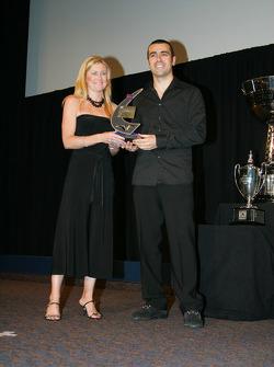 Dario Franchitti accepts fastest lap award